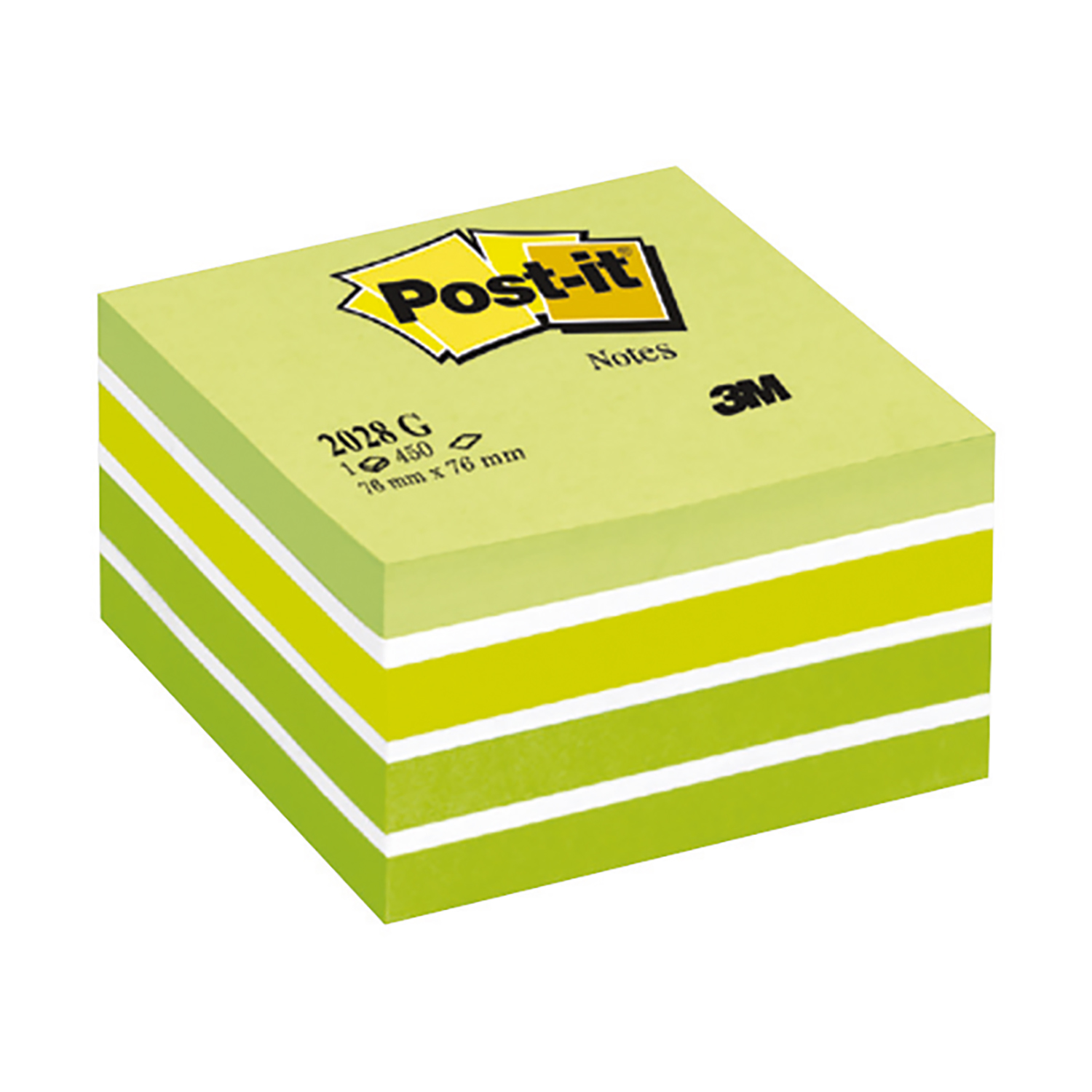Self adhesive note paper Post-it Note Cube Pad of 450 Sheets 76x76mm Pastel Green Ref 2028G