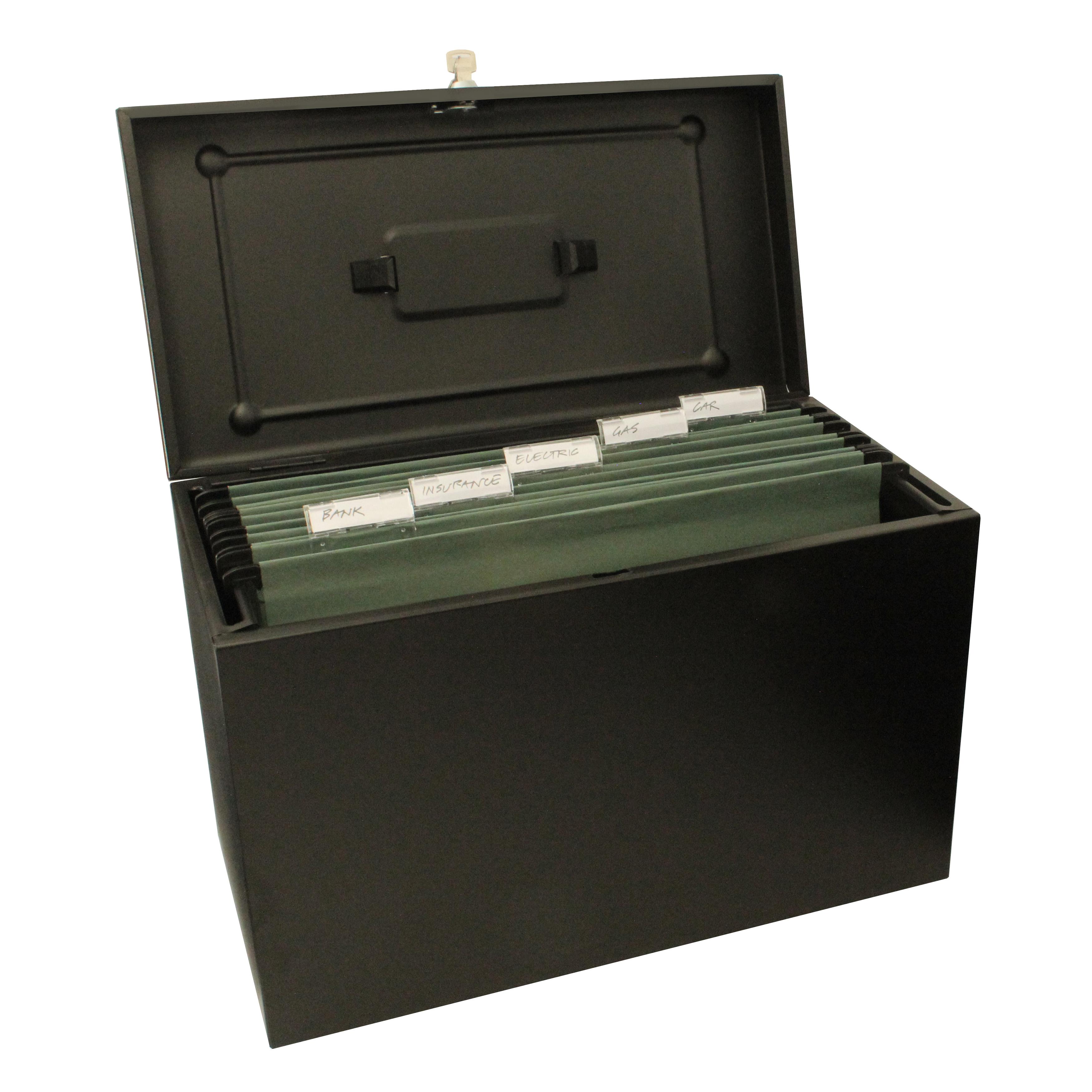 Metal File with 5 Suspension Files 2 Keys and Index Tabs Steel Foolscap Black