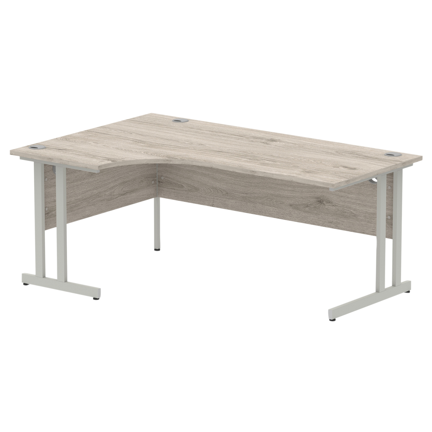 Trexus Radial Desk Left Hand Silver Cantilever Leg 1800mm Grey Oak Ref I003134