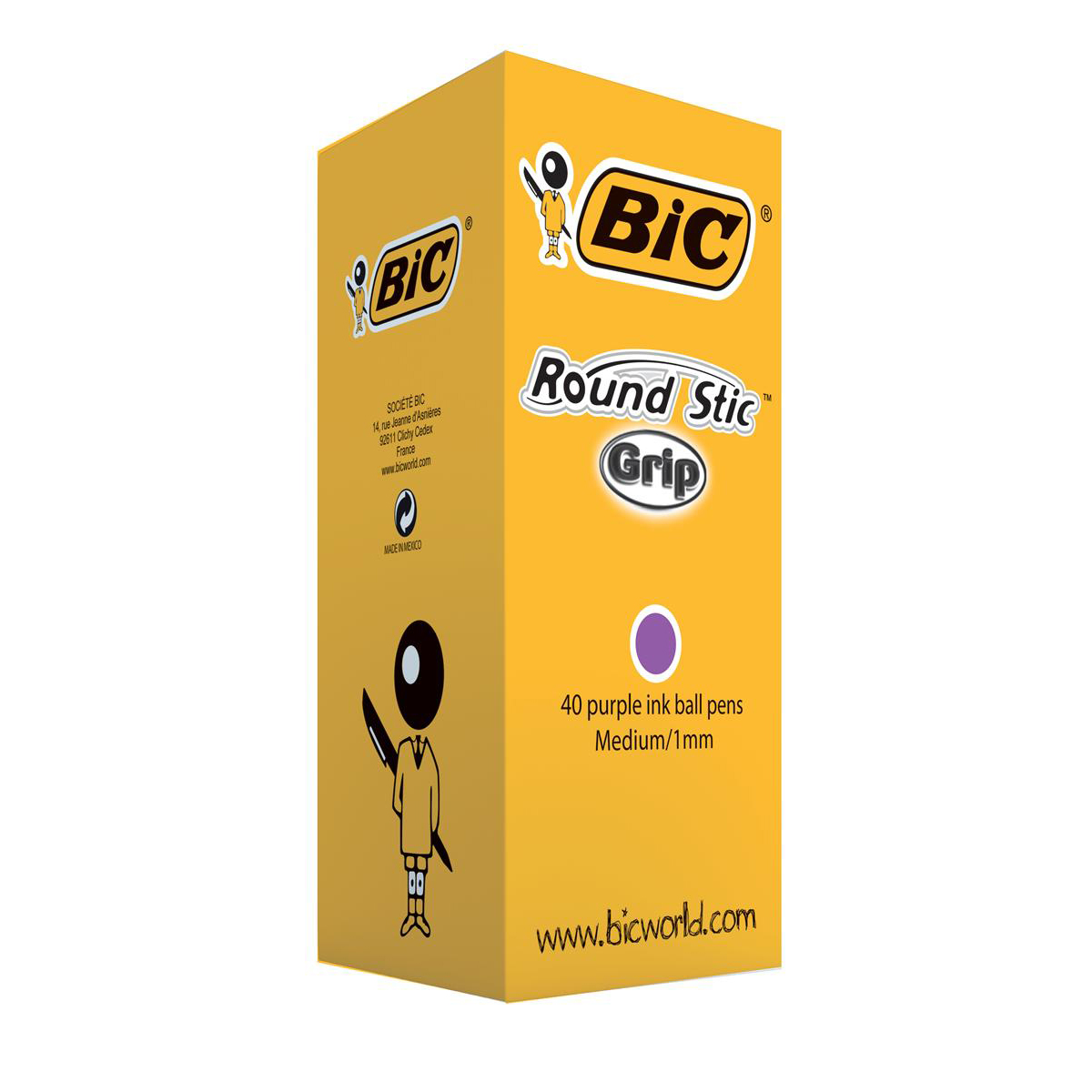 Bic Round Stic Grip Pen 1.0mm Tip 0.32mm Line Purple Ref 920412 Pack 40