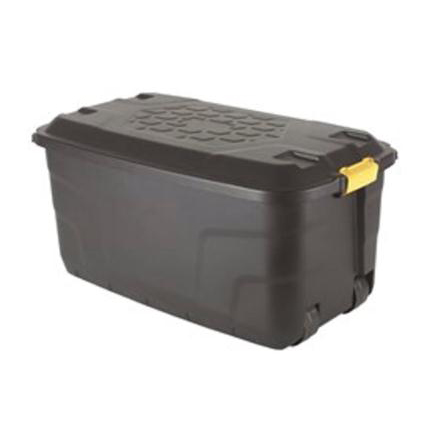 Containers Strata Storage Trunk with Lid and Wheels 145 Litres W960xD560xH460 Black Ref HW440