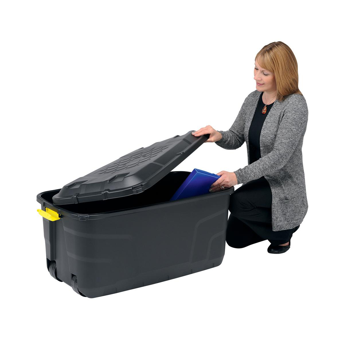 Strata Storage Trunk with Lid and Wheels 145 Litres W560xD960xH460mm Black Ref HW440