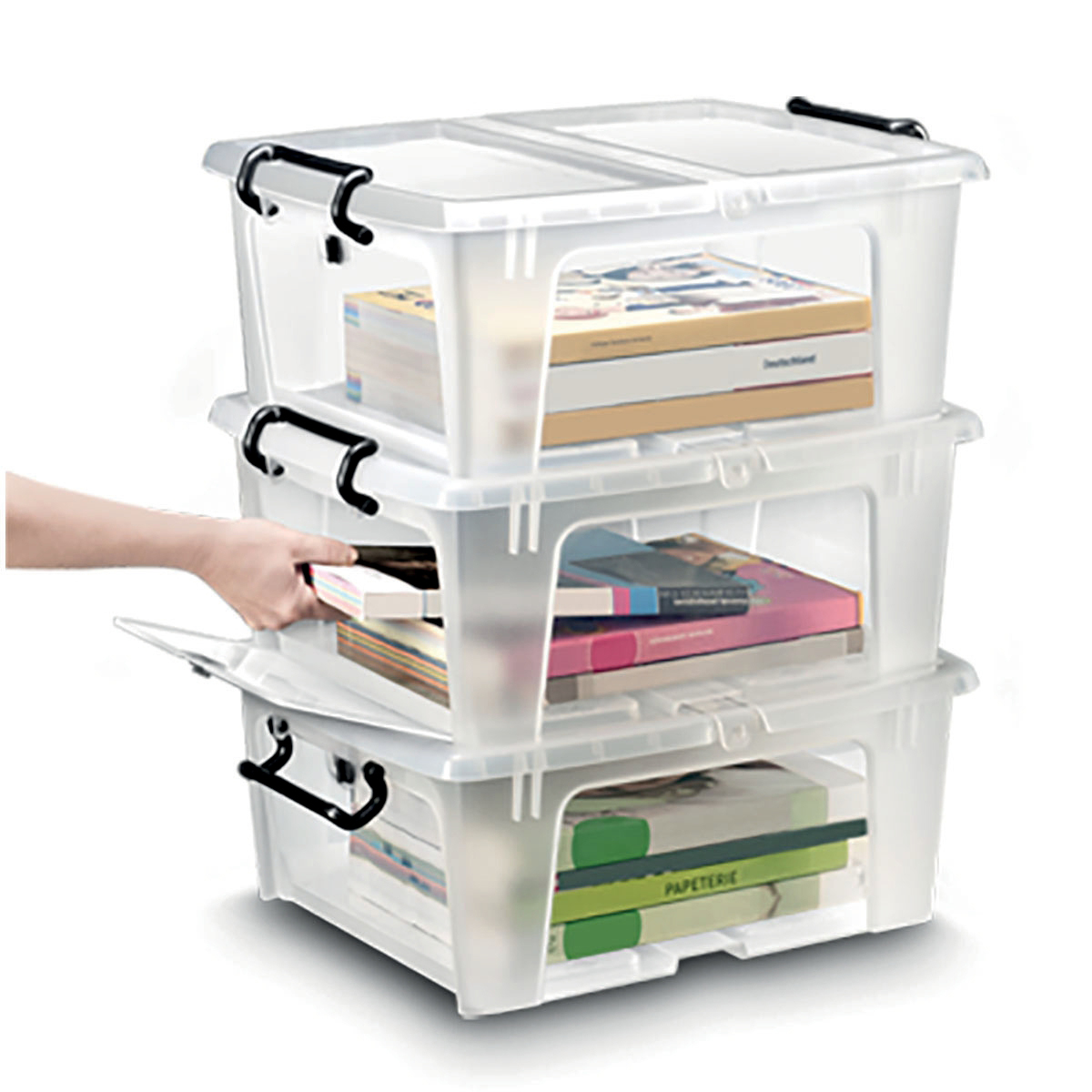 Containers Strata Smart Box Clip-On Folding Lid Opens Front or Side 20 Litre Clear Ref HW695