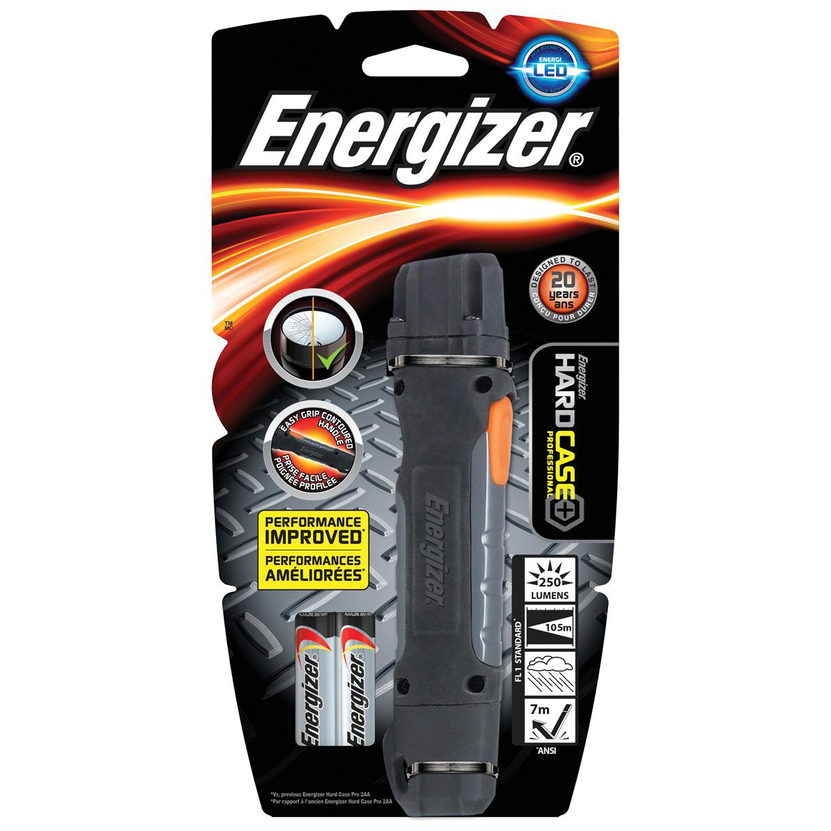 Energizer Hardcase Pro 2 LED Rubber Cased Torch Weatherproof AA Ref 639618