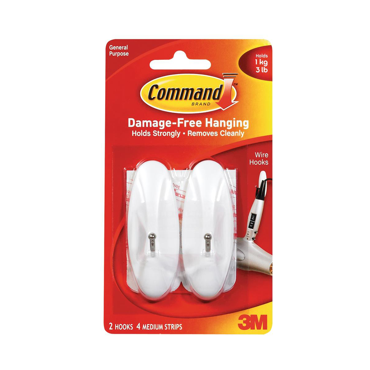 Command Adhesive Wire Hook Medium Ref 17068 Pack 2