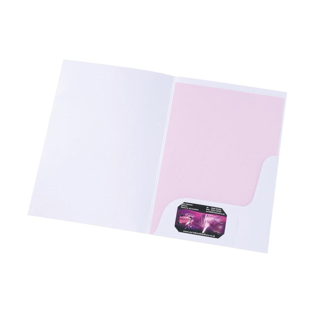 Plastic Pockets 5 Star Office Corporate Presentation Folder A4 Matt White Pack 50