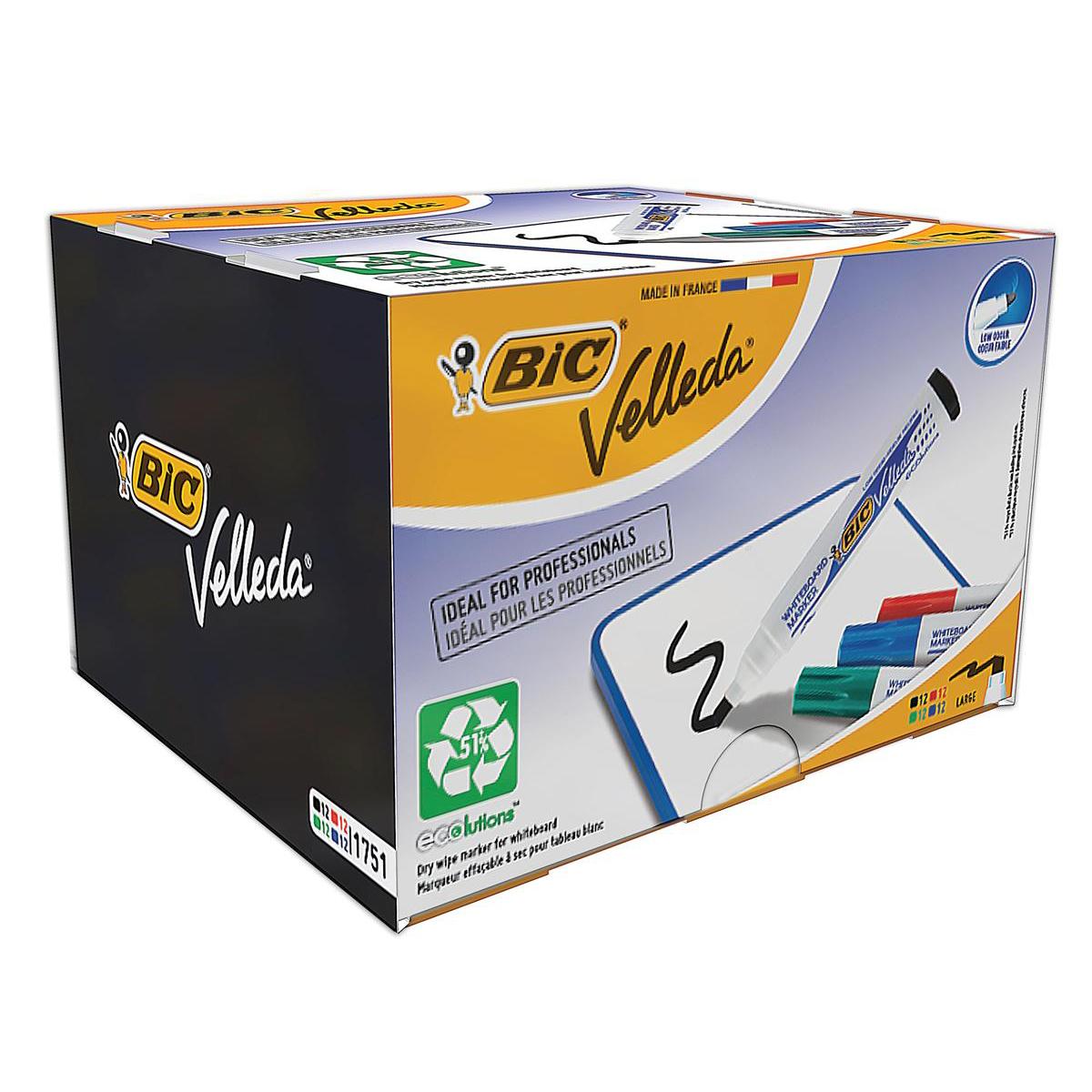 Bic Velleda 1751 Whiteboard Marker Chisel Tip Line Width 3.7-5.5mm Assorted Ref 927261 Pack 48