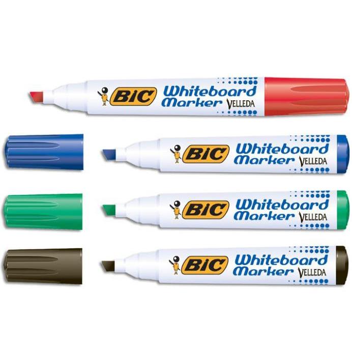 Bic Velleda Marker W/bd Dry-wipe 1751 Large Chisel Tip 3.7-5.5mm Line Width Assorted Ref 927261 [Pack 48]