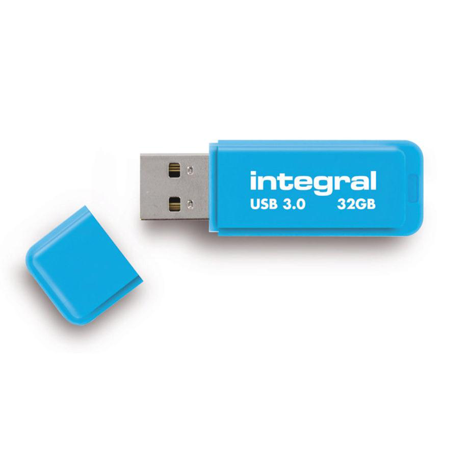 Memory Sticks Integral Neon Flash Drive USB 3.0 Blue 32GB Ref INFD32GBNEONB3.0