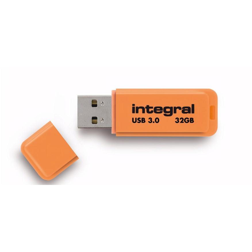 Memory Sticks Integral Neon Flash Drive USB 3.0 Orange 32GB Ref INFD32GBNEONOR3.0