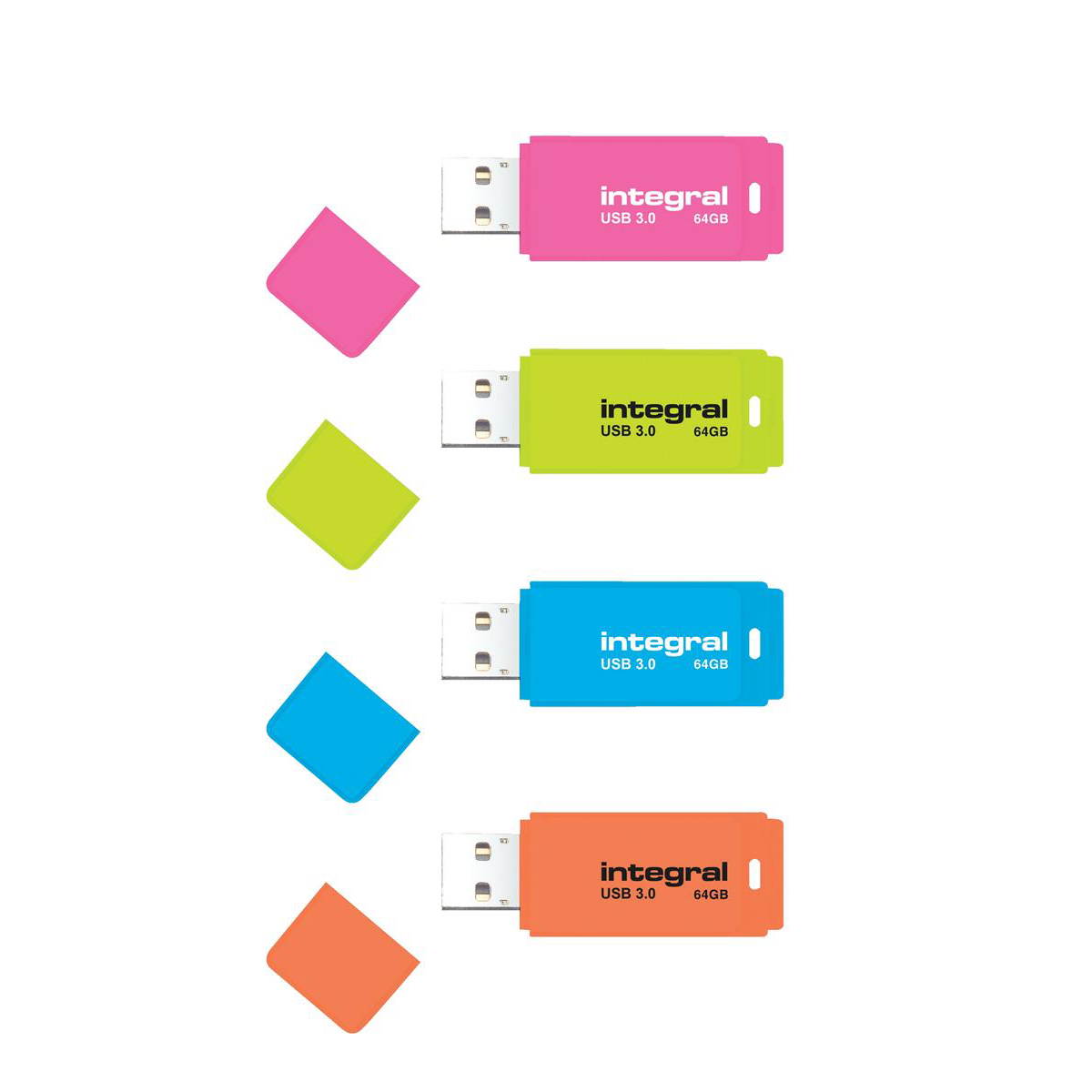 Integral Neon Flash Drive USB 3.0 Blue 64GB Ref INFD64GBNEONB3.0
