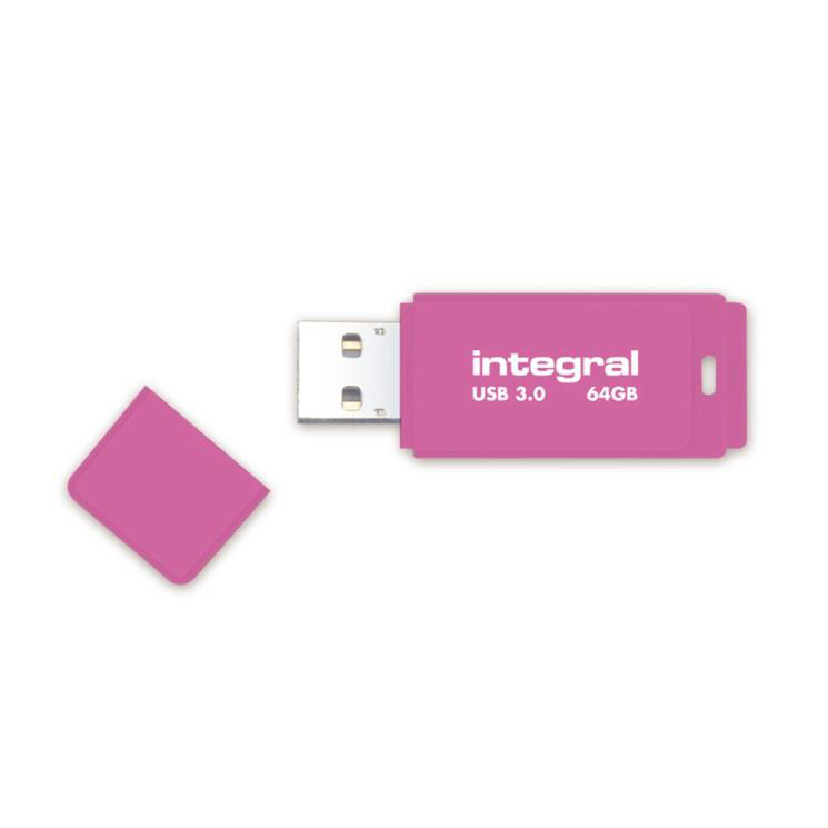 Integral Neon Flash Drive USB 3.0 Pink 64GB Ref INFD64GBNEONPK3.0
