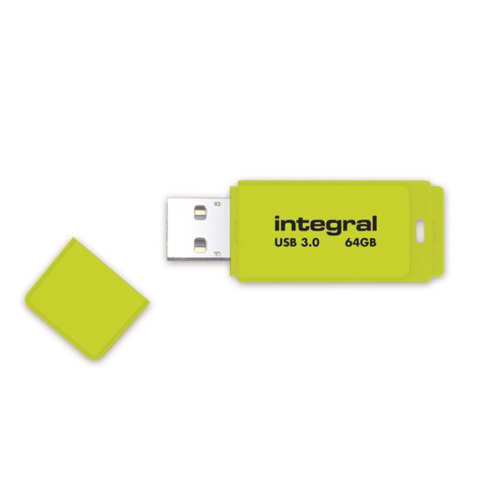 Integral Neon Flash Drive USB 3.0 Yellow 64GB Ref INFD64GBNEONYL3.0