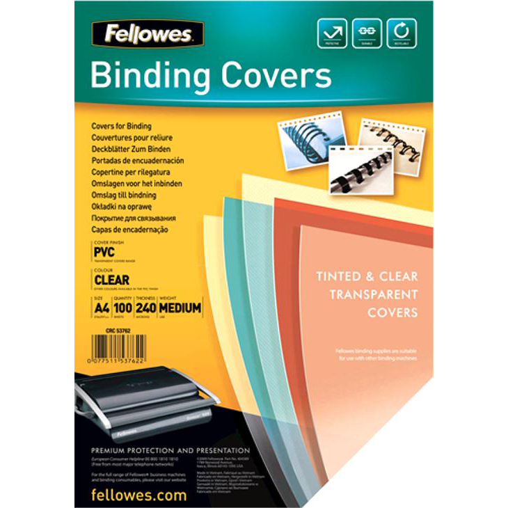 Cover Boards Fellowes Binding Covers 240gsm A4 Clear Ref 53762 Pack 100