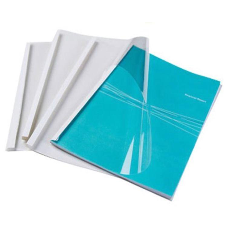 Fellowes Thermal Binding Covers 3mm Front PVC Clear Back Gloss White A4 Ref 53152-2 Pack 100