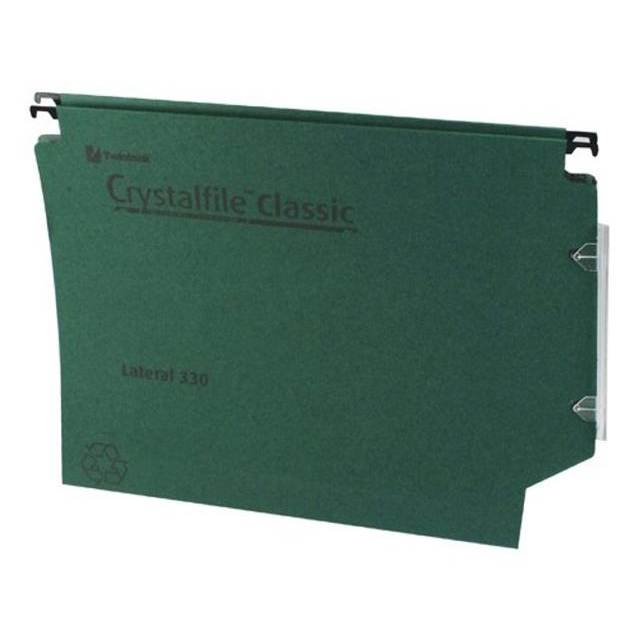 Rexel Crystalfile Classic Linking Lateral File Manilla 30mm Base Foolscap Green Ref 3000109 Pack 25