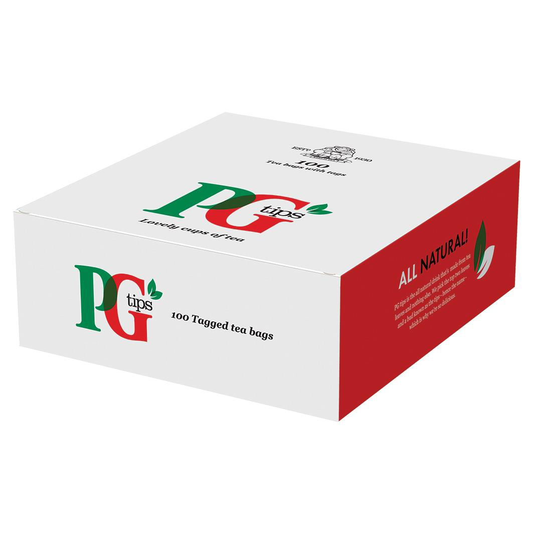 PG Tips Tea String and Tag Bags Ref 1004539 Pack 100