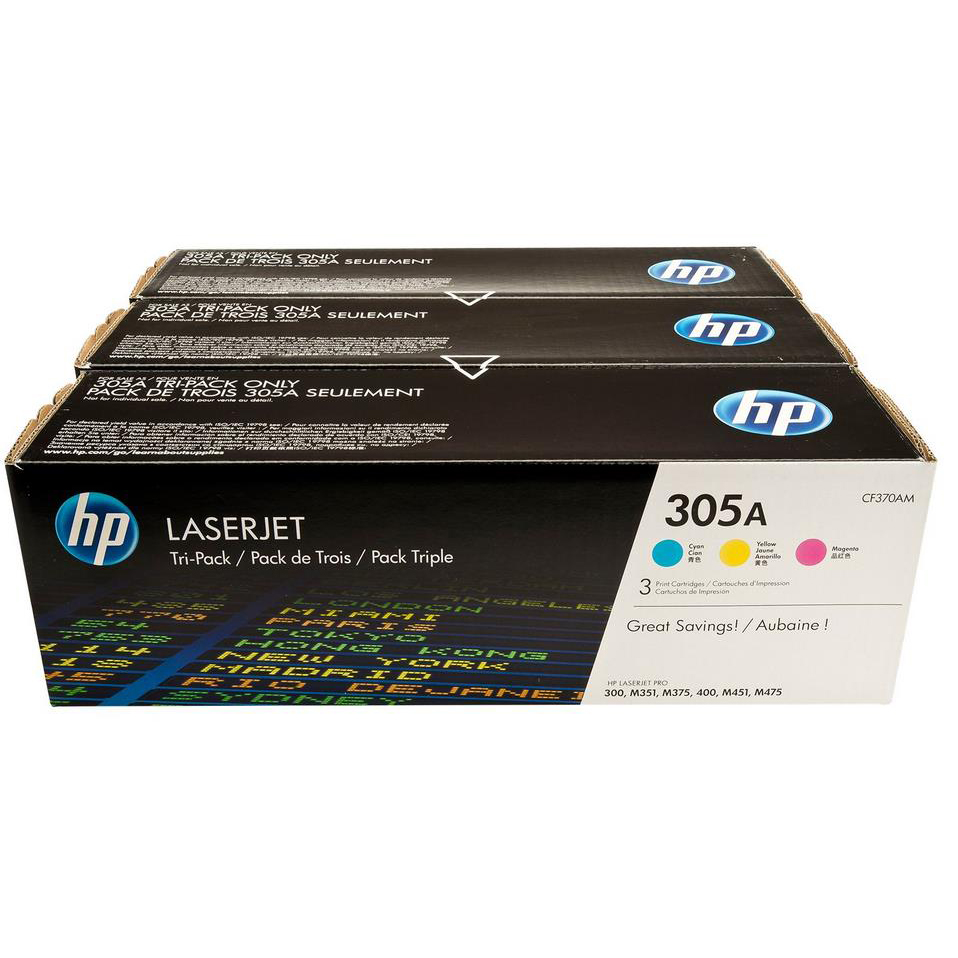 Hewlett Packard [HP] 305A Laser Toner Cartridge Page Life 2600pp Cyan/Magenta/Yellow Ref CF370AM [Pack 3]