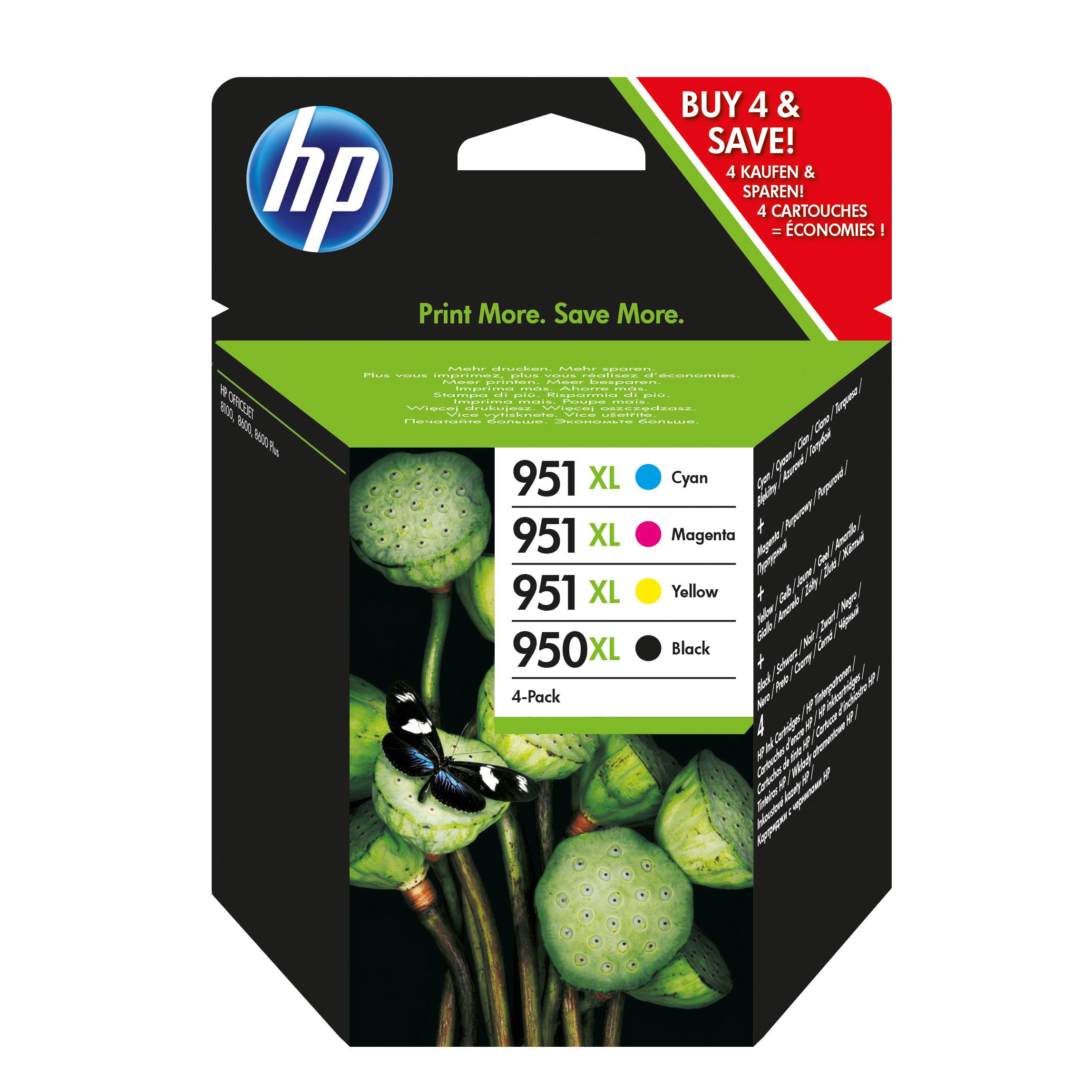 Hewlett Packard [HP] No.  950XL/951XL Inkjet Cartridge Combo Multi Pack CMYK Ref C2P43AE [Pack 4]