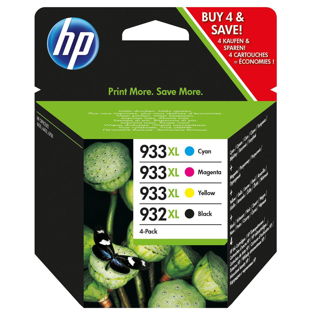 Hewlett Packard [HP] No.  932XL/933XL Inkjet Cartridge Combo Multi Pack CMYK Ref C2P42AE [Pack 4]