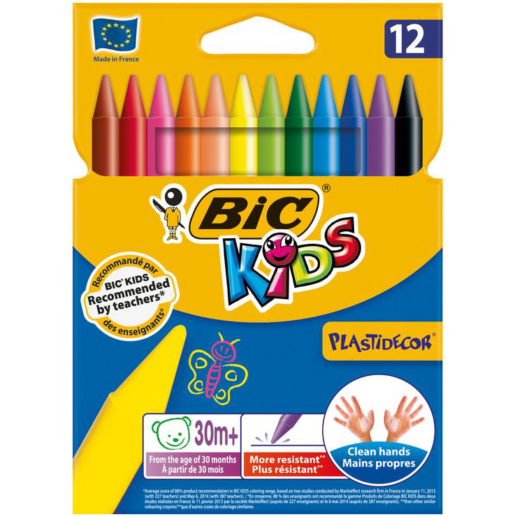 Crayons / Charcoals / Pastels Bic Kids Plastidecor Crayons Long-lasting Sharpenable Wallet Vivid Assorted Colours Ref 920299 Pack 12