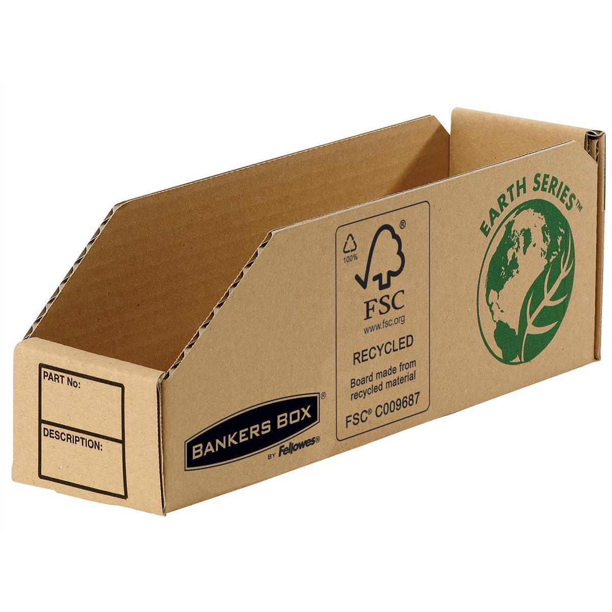 Containers Bankers Box by Fellowes Parts Bin Corrugated Fibreboard Packed Flat W76xD280xH102mm Ref 07352 [Pack 50]