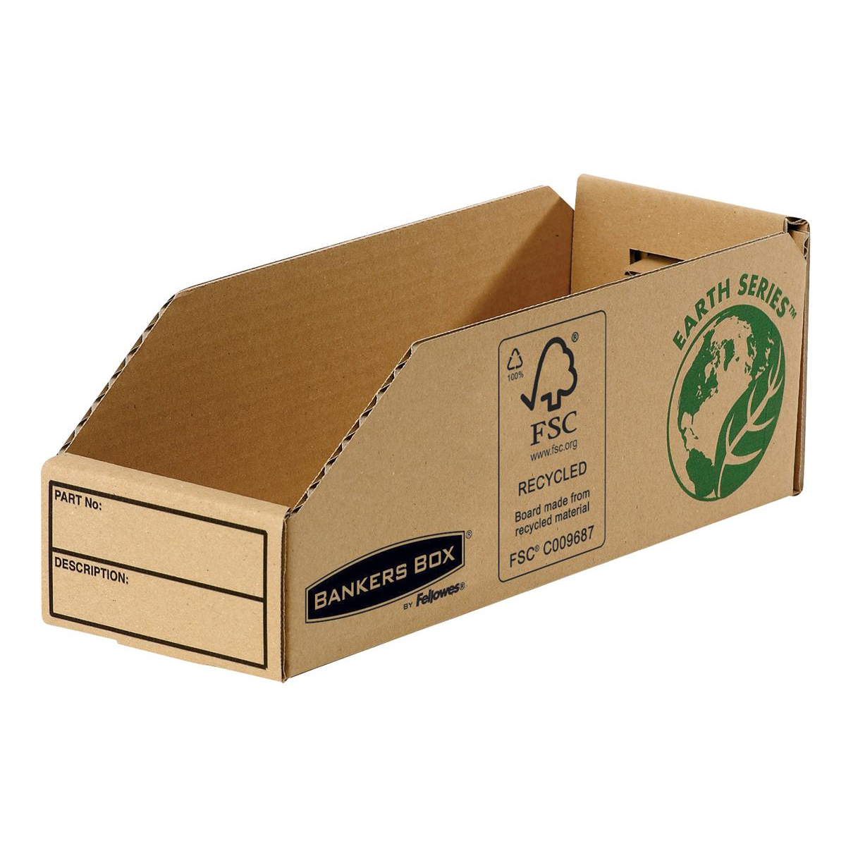 Containers Bankers Box by Fellowes Parts Bin Corrugated Fibreboard Packed Flat W98xD280xH102mm Ref 07353 Pack 50