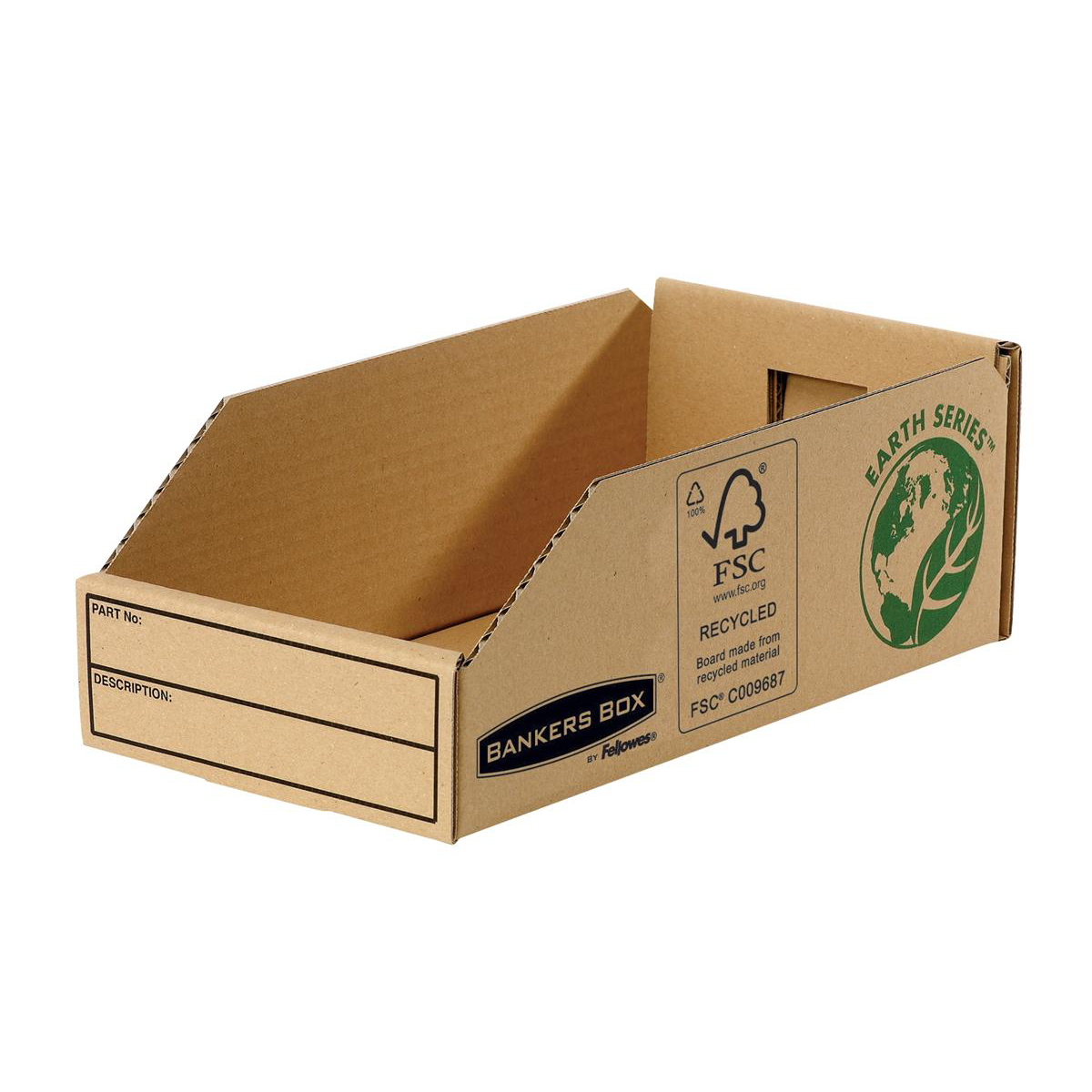 Containers Bankers Box by Fellowes Parts Bin Corrugated Fibreboard Packed Flat W147xD280xH102mm Ref 07354 Pack 50