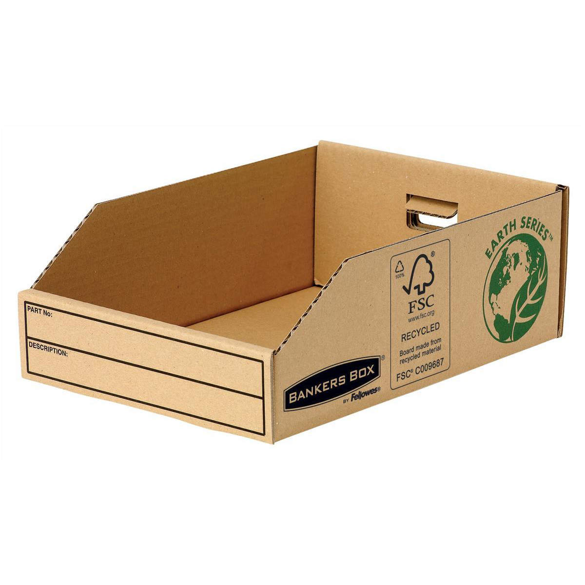 Containers Bankers Box by Fellowes Parts Bin Corrugated Fibreboard Packed Flat W200xD280xH102mm Ref 07355 Pack 50