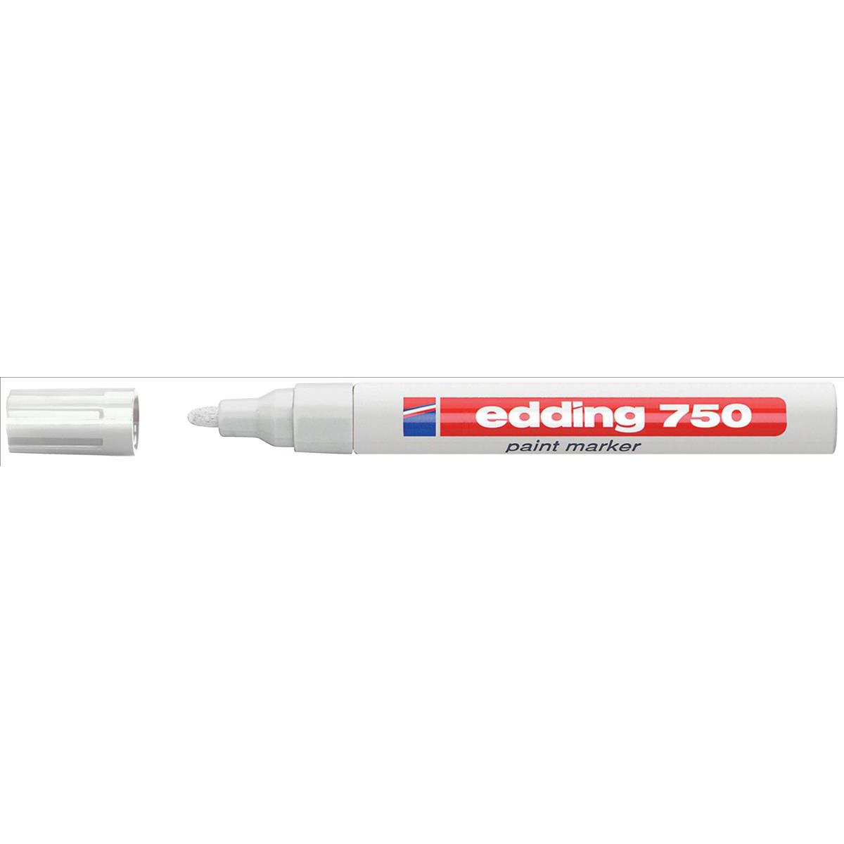Edding 750 Paint Marker Bullet Tip 2-4mm Line White Ref 4-750049 Pack 10