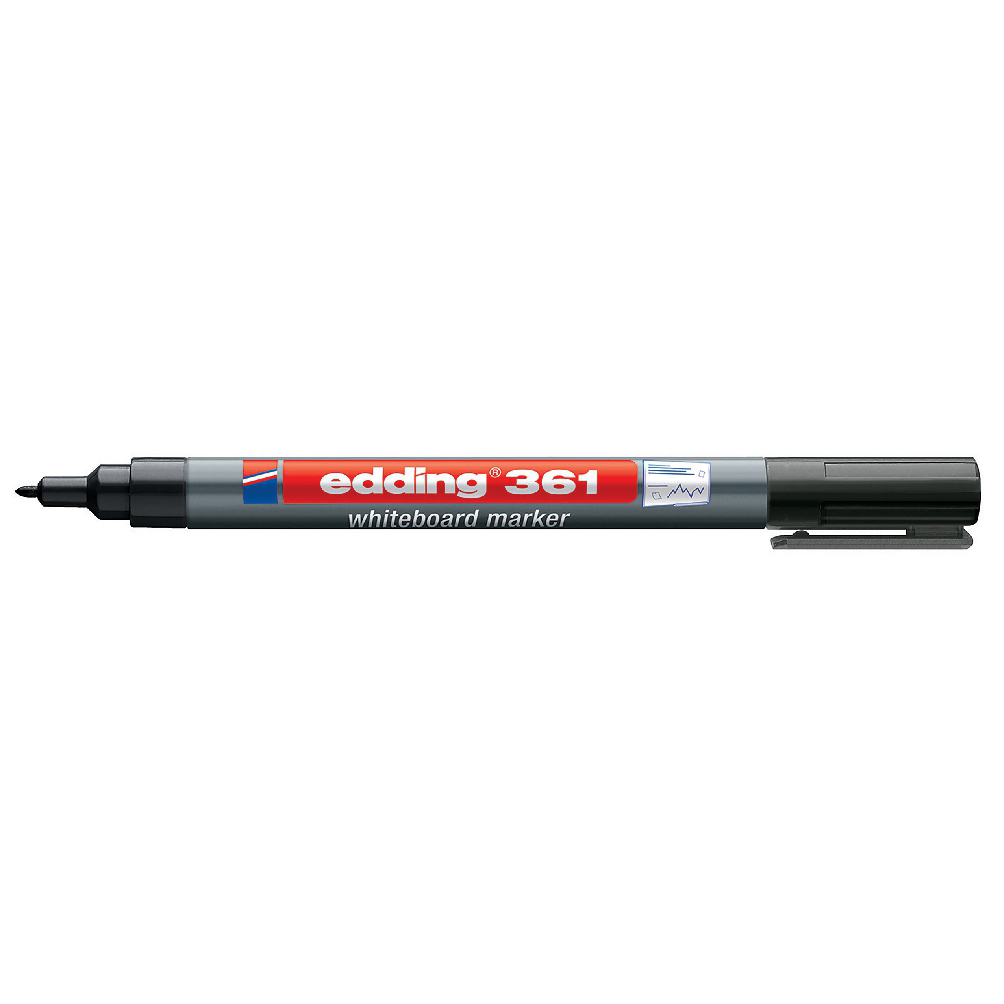 Edding 361 Whiteboard Marker Bullet Tip 1mm Line Black Ref 4-361001 Pack 10