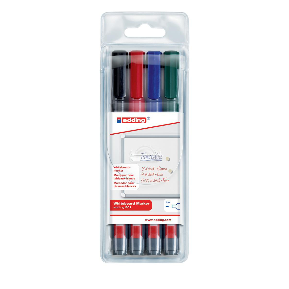 Edding 361/4S Whiteboard Marker Bullet Tip 1mm Line Assorted Ref 4-361-4 Pack 4