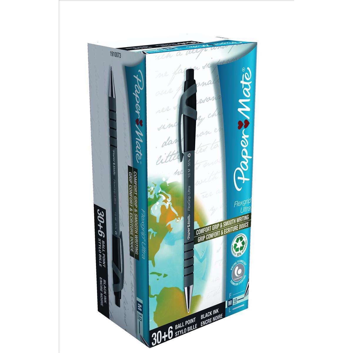 Paper Mate Flexgrip Retract Ultra Ball Pen Med 1.0mm Tip 0.7mm Line Black Ref 1910073 [Pack 30 + 6 free]