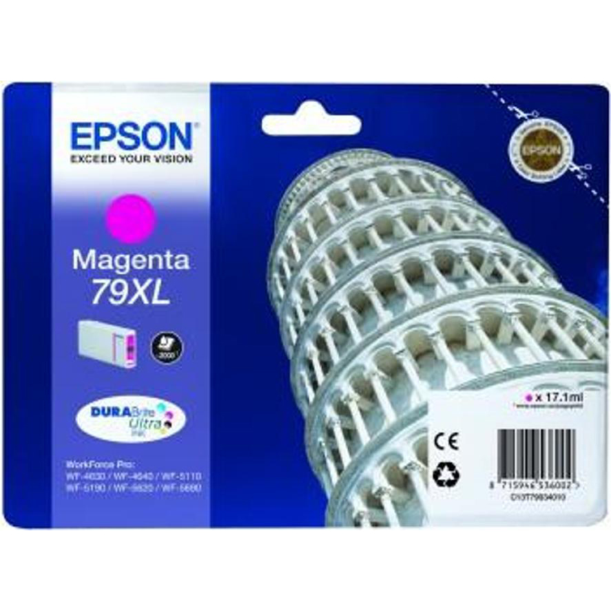 Epson 79XL Inkjet Cartridge Tower of Pisa High Yield Page Life 2000pp 17.1ml Magenta Ref C13T79034010