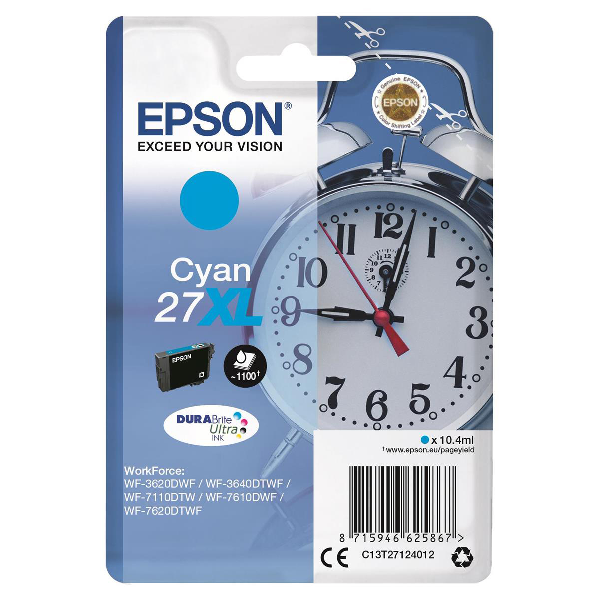 Epson 27XL Inkjet Cartridge Alarm Clock High Yield Page Life 1100pp 10.4ml Cyan Ref C13T27124012
