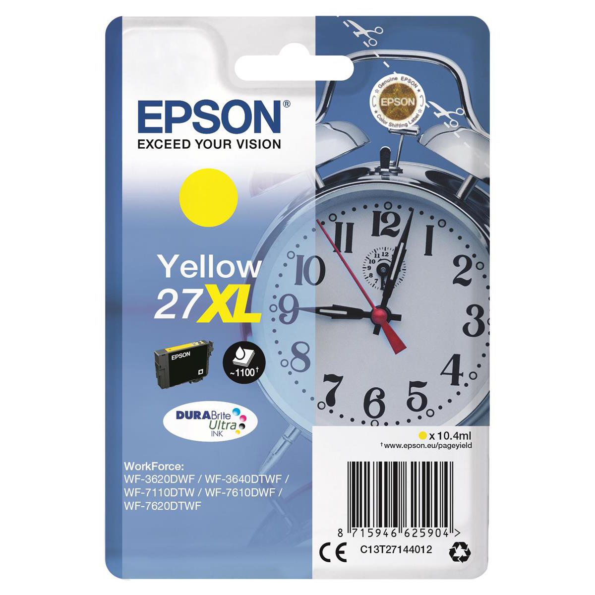 Epson 27XL Inkjet Cartridge Alarm Clock High Yield Page Life 1100pp 10.4ml Yellow Ref C13T27144012