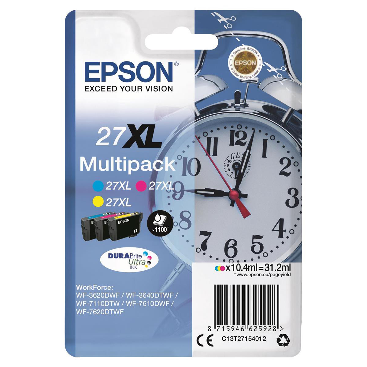Epson 27XL Inkjet Cart Alarm Clock High Yield Page Life 1100pp 10.4ml C/M/Y Ref C13T27154012 Pack 3