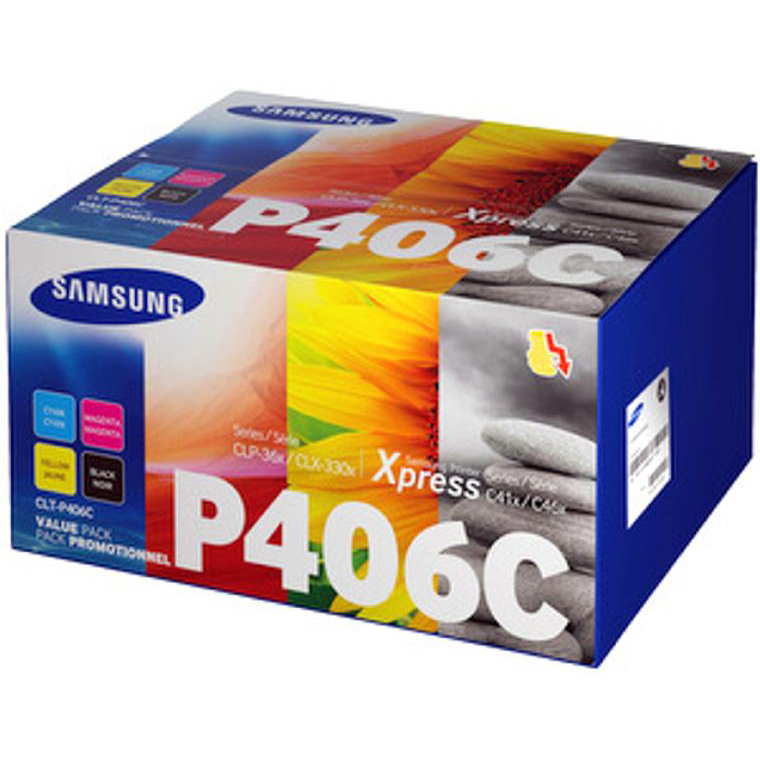 Samsung CLT-P406C Laser Toner Carts Page Life 1500pp Black/1000pp Cyan/Mag/Yellow Ref SU375A [Pack 4]