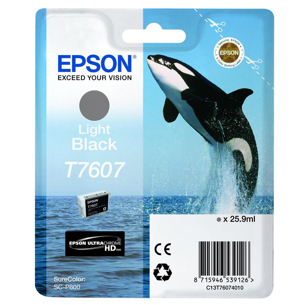 Epson T7607 Inkjet Cartridge Killer Whale Page Life 10000pp 25.9ml Light Black Ref C13T76074010
