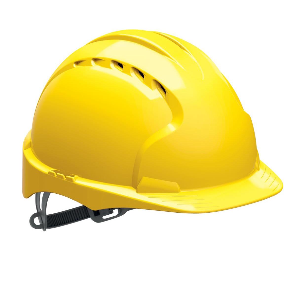 Head Protection JSP EVO2 Safety Helmet HDPE 6-point Polyethylene Harness EN397 Standard Yellow Ref AJF030-000-200