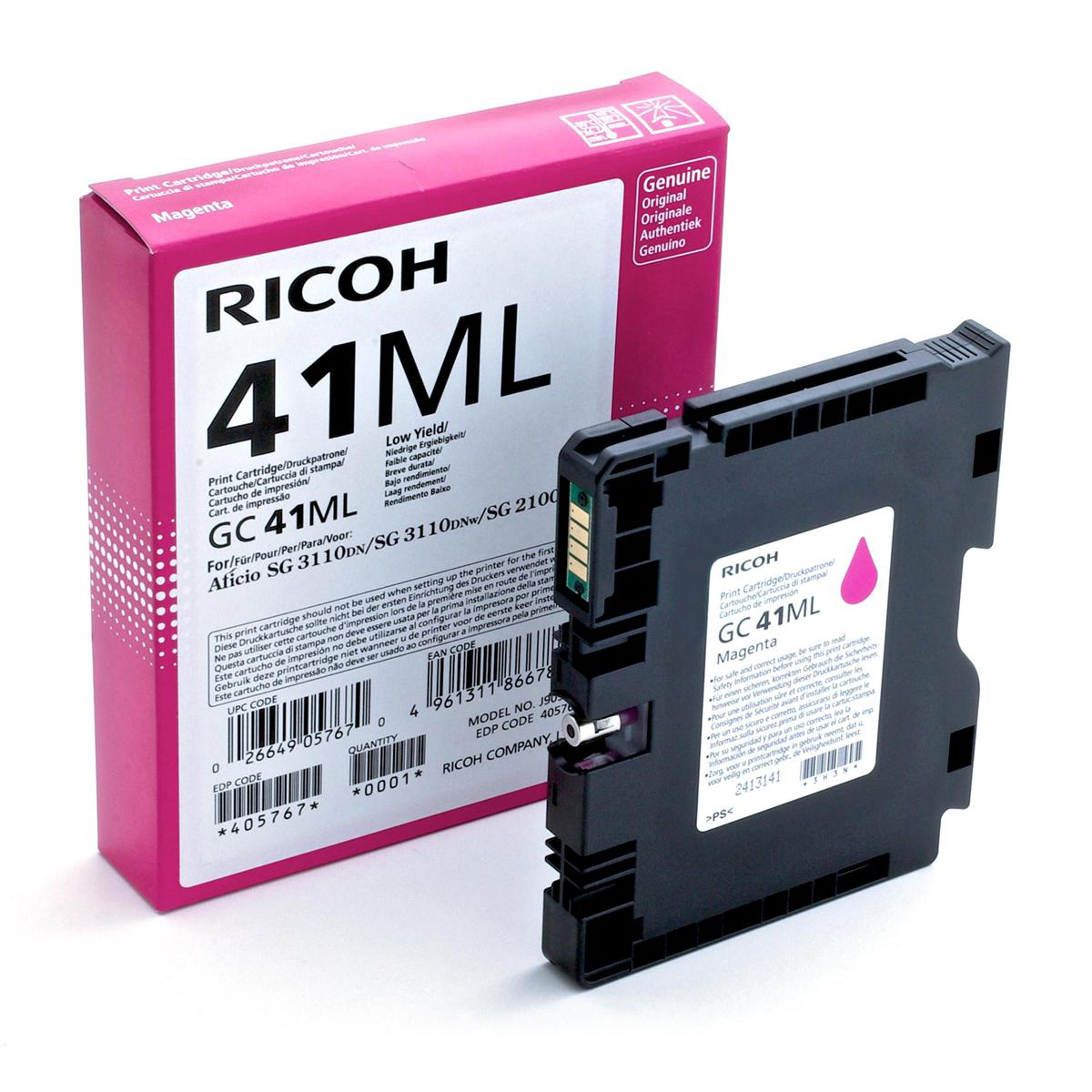 Ricoh Gel Inkjet Cartridge Page Life 600pp Magenta Ref GC-41ML 405767