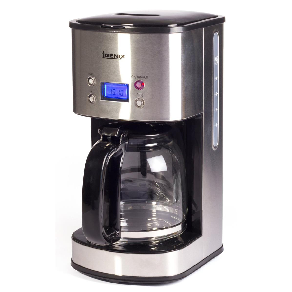 Igenix Digital Coffee Maker LCD Display Keep Warm 1.5L 10 Cup Capacity Stainless Steel Ref IG 8250
