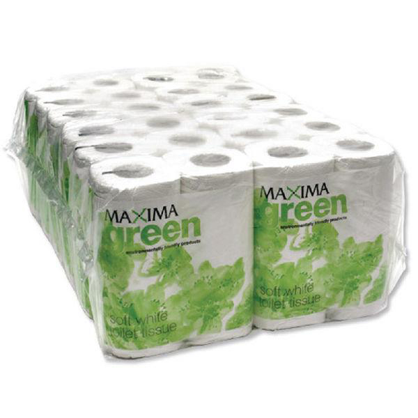 Maxima Green Toilet Rolls 2-Ply 102x92mm Pkd 4 Rolls of 200 Sheets White Ref 1102004 Pack 48