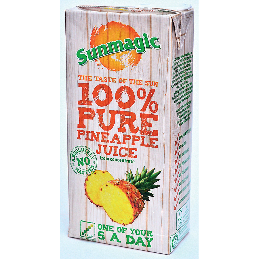 Sunmagic Pure Pineapple Juice Drink From Concentrate Tetra Pak Slim 1 Litre Ref 471051 [Pack 12]