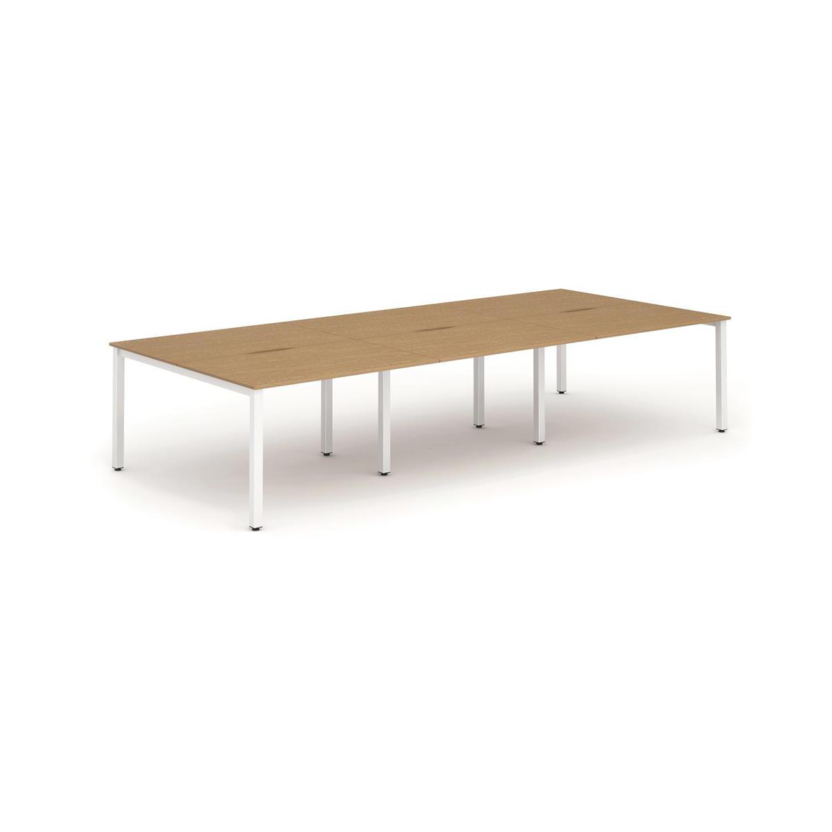 Trexus Bench Desk 6 Person Back to Back Configuration White Leg 4800x1600mm Oak Ref BE268