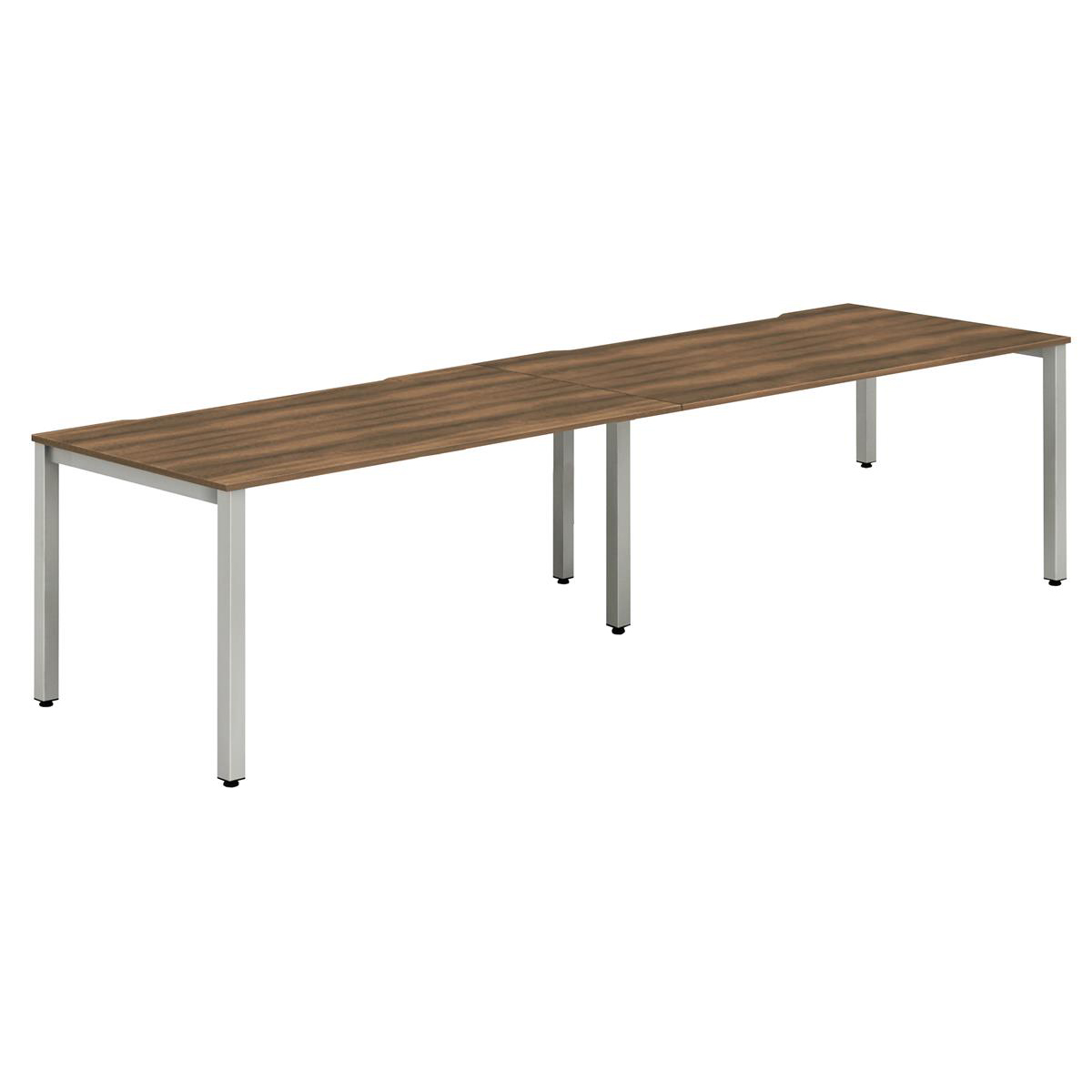 Trexus Bench Desk 2 Person Side to Side Configuration Silver Leg 2400x800mm Walnut Ref BE379