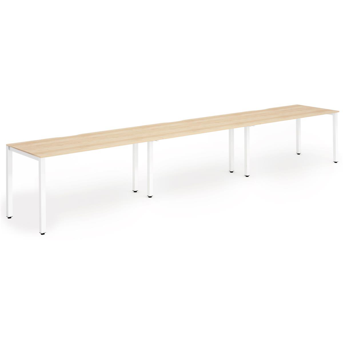 Trexus Bench Desk 3 Person Side to Side Configuration White Leg 3600x800mm Maple Ref BE396