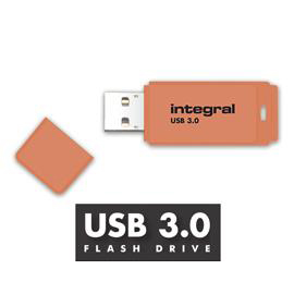 Integral Neon Flash Drive USB3.0 Orange 128GB Ref:INFD128GBNEONOR3.0