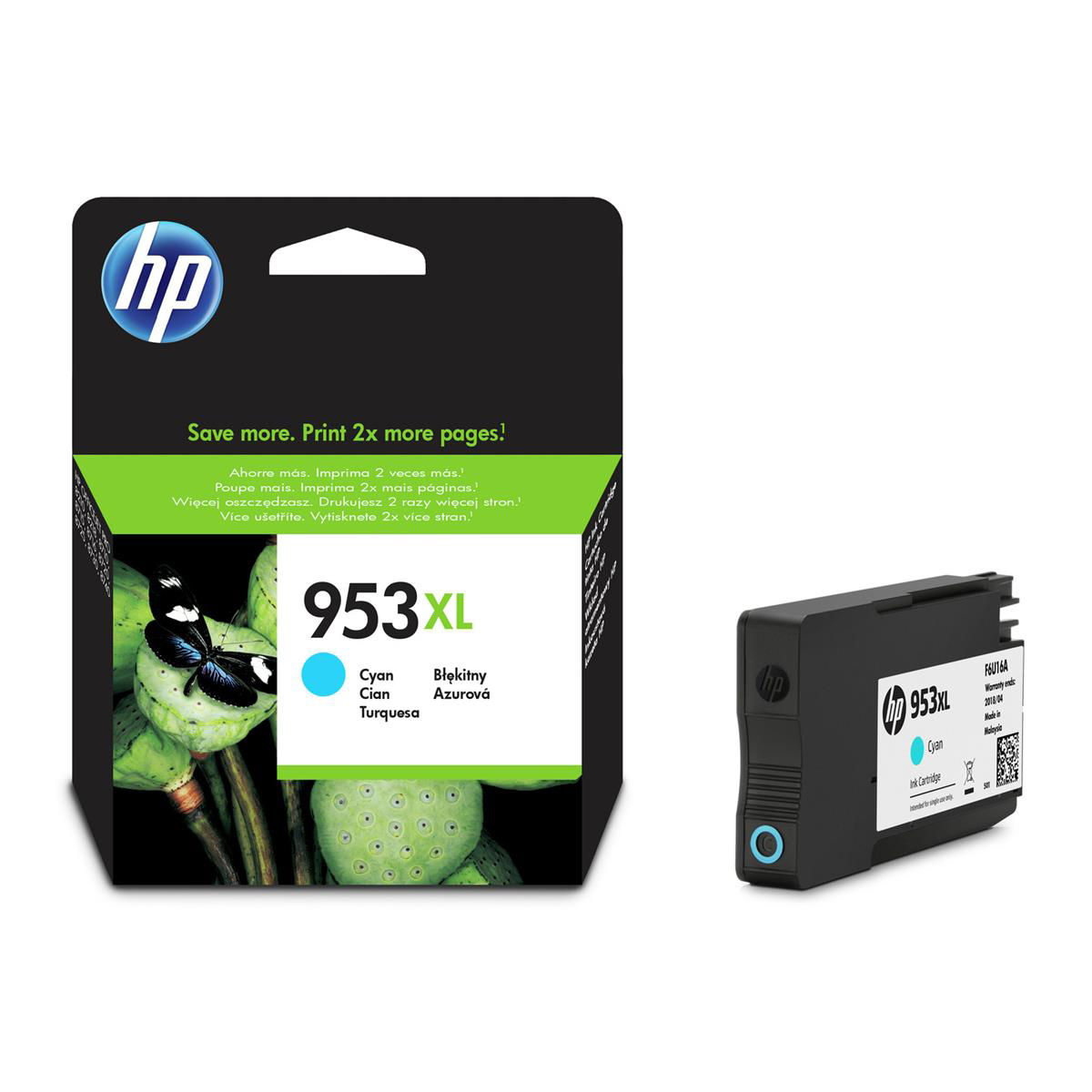Hewlett Packard [HP] No.953XL Original Ink Cartridge High Yield 1600pages Cyan Ref F6U16AE