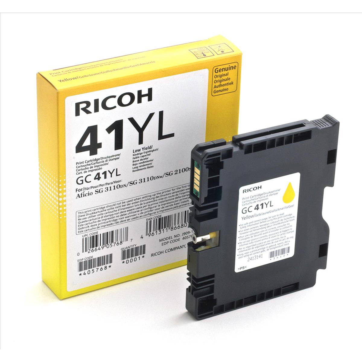 Ricoh Gel Inkjet Cartridge Page Life 600pp Yellow Ref GC-41YL 405768